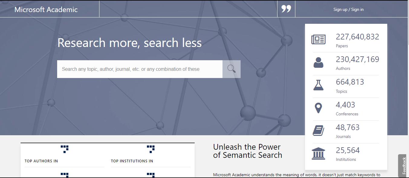 μηχανές αναζήτησης επιστημονικών άρθρων microsoft academic